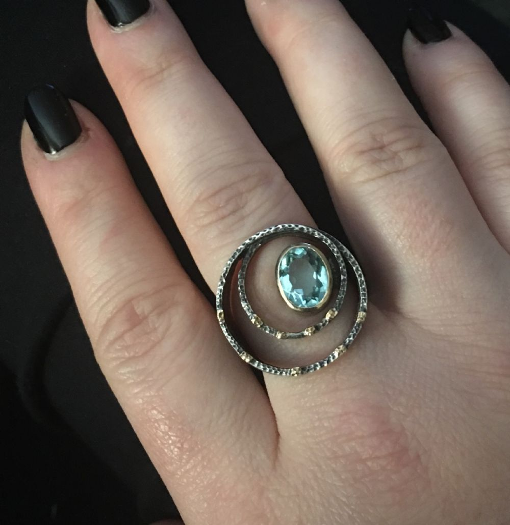 Size 8.5   Oxidized Silver with Blue Topaz Ring -- Photo # 82358