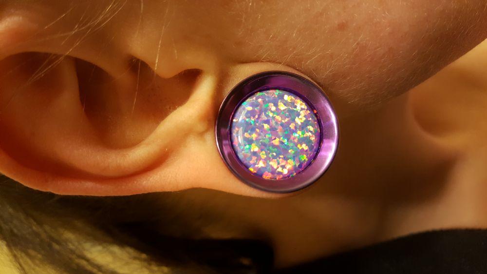 "7/8""  1/4"" wearable PRE-ORDER Titanium Floating Gem Opal Eyelet  -- Photo # 79511"