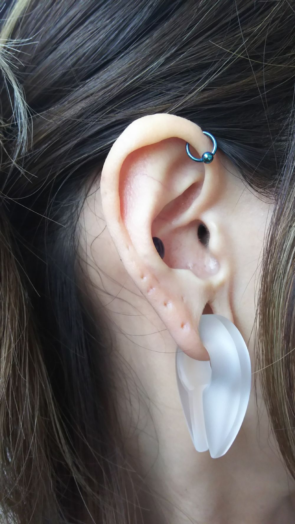 "18g 1/4"" Teal Titanium Captive Bead Ring -- Photo # 84614"