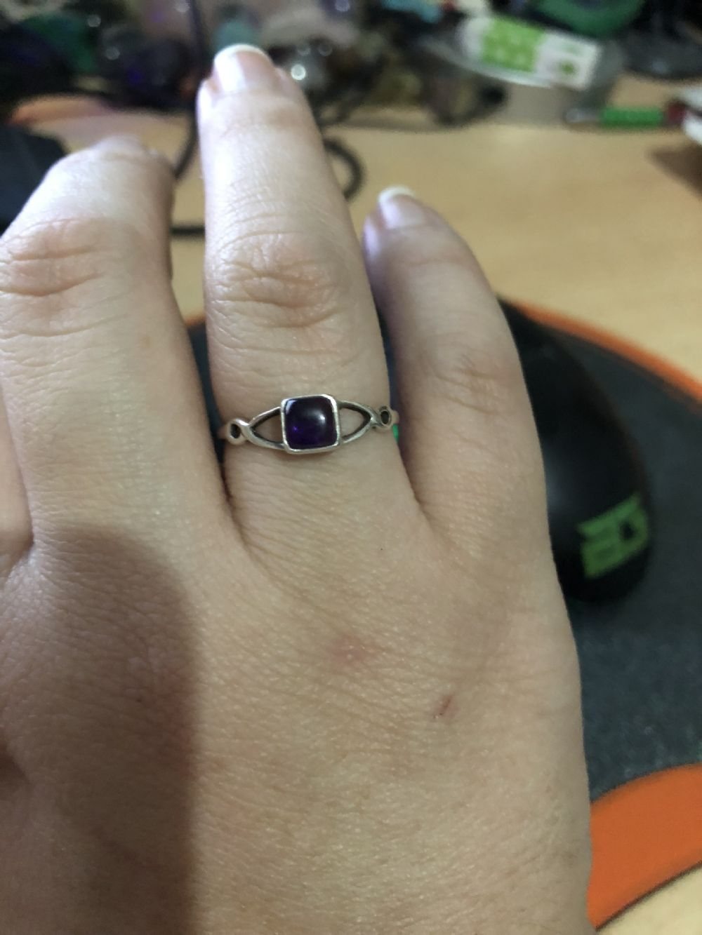 Size 8  Amethyst Silver Ring with Square Inlay -- Photo # 83116
