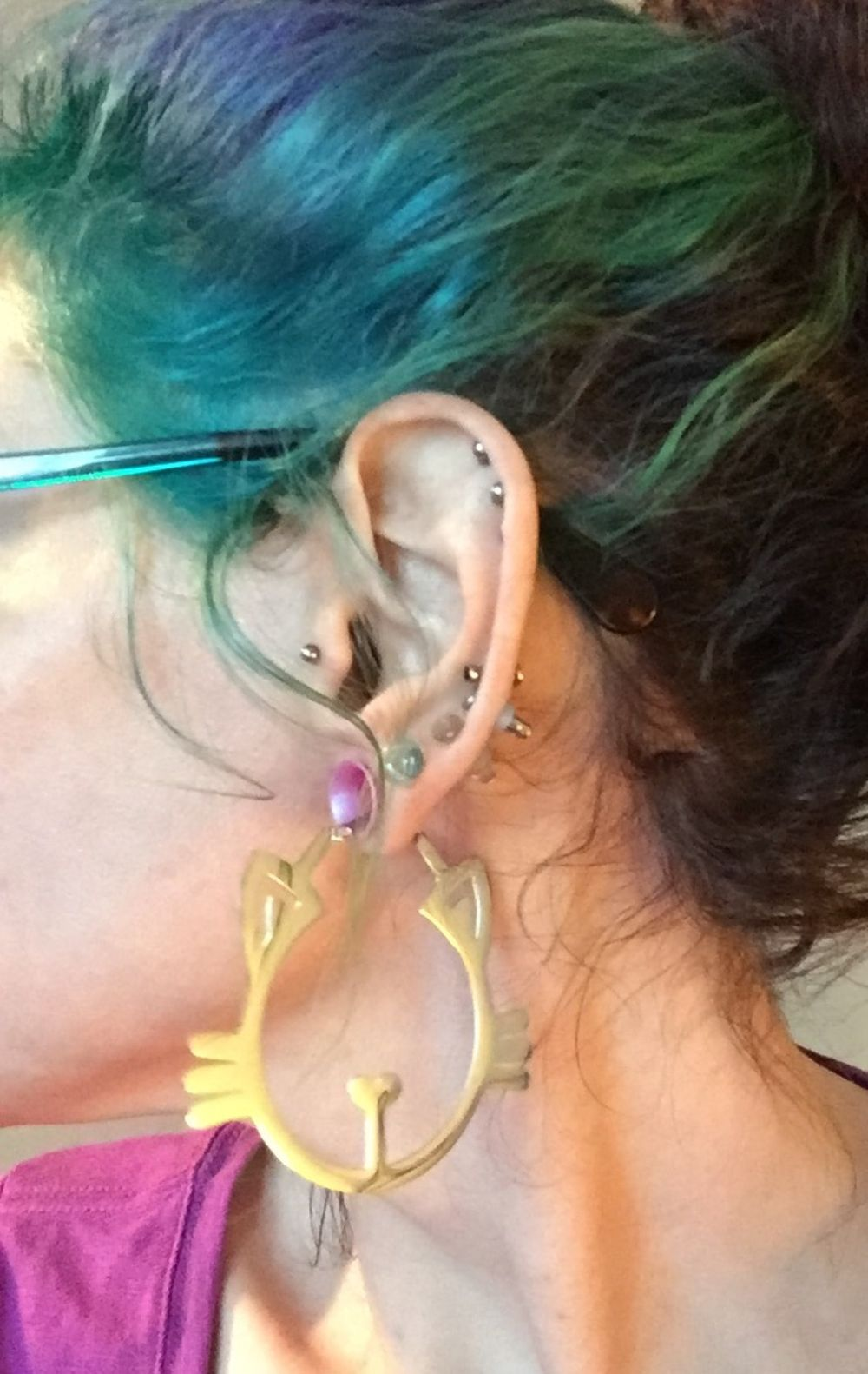 18g  Steel (pair) Meow Hoop Earrings -- Photo # 85194