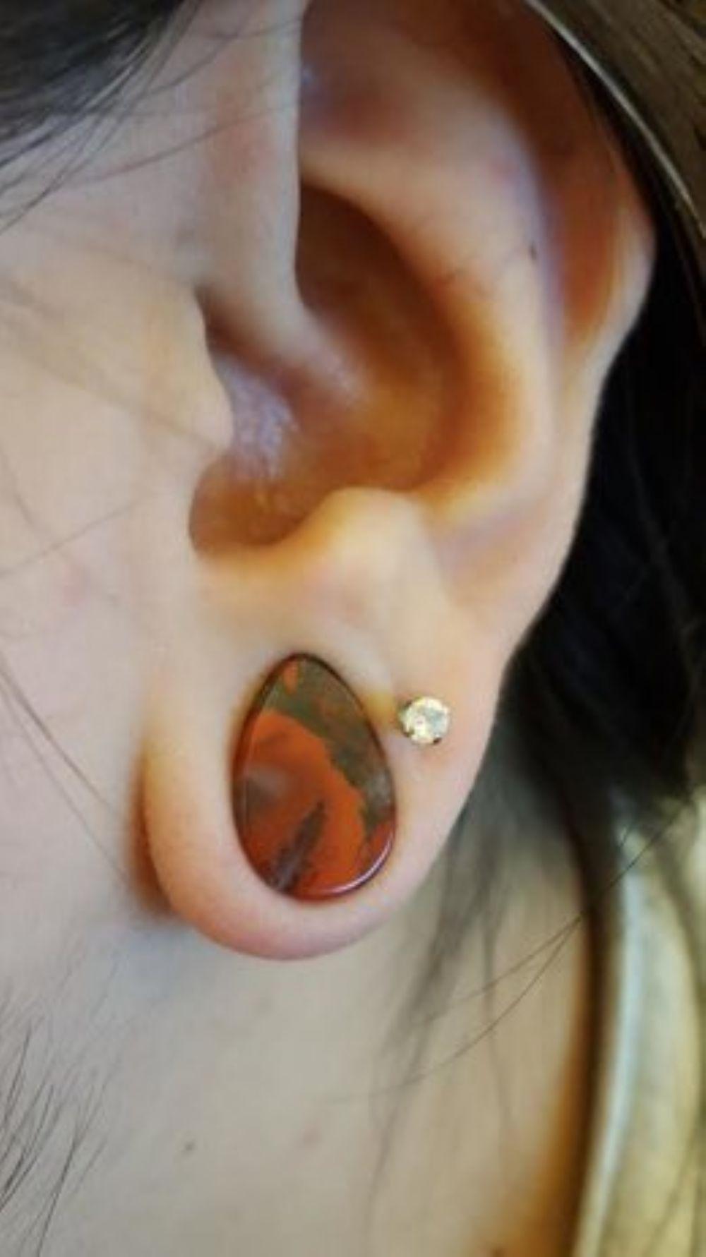 """1/2""""  12.5mm Blood jasper teardrop plug -- Photo # 78353"""