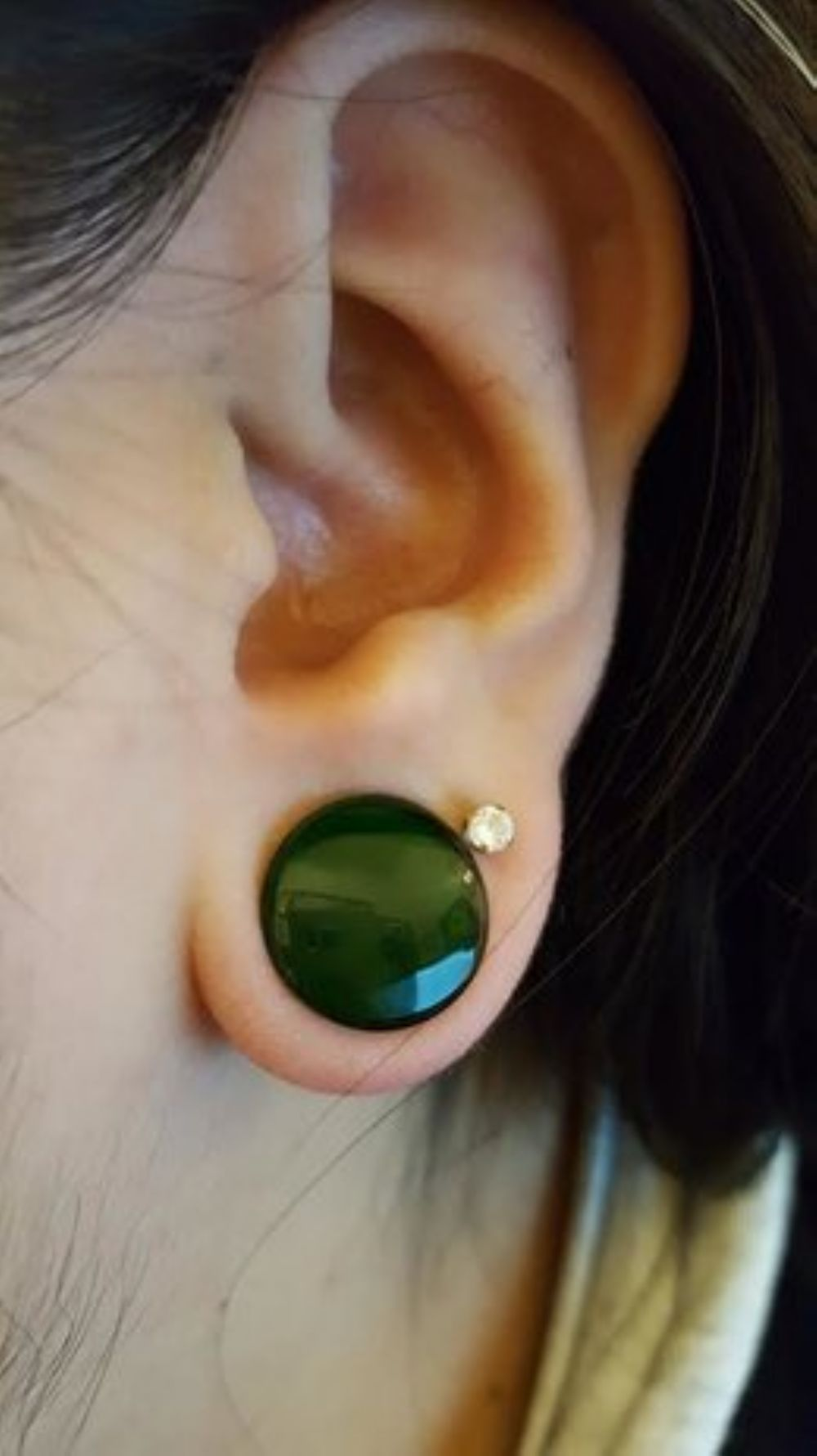 """1/2""""  Emerald (pair) Glass double flare solid color plugs  -- Photo # 78352"""