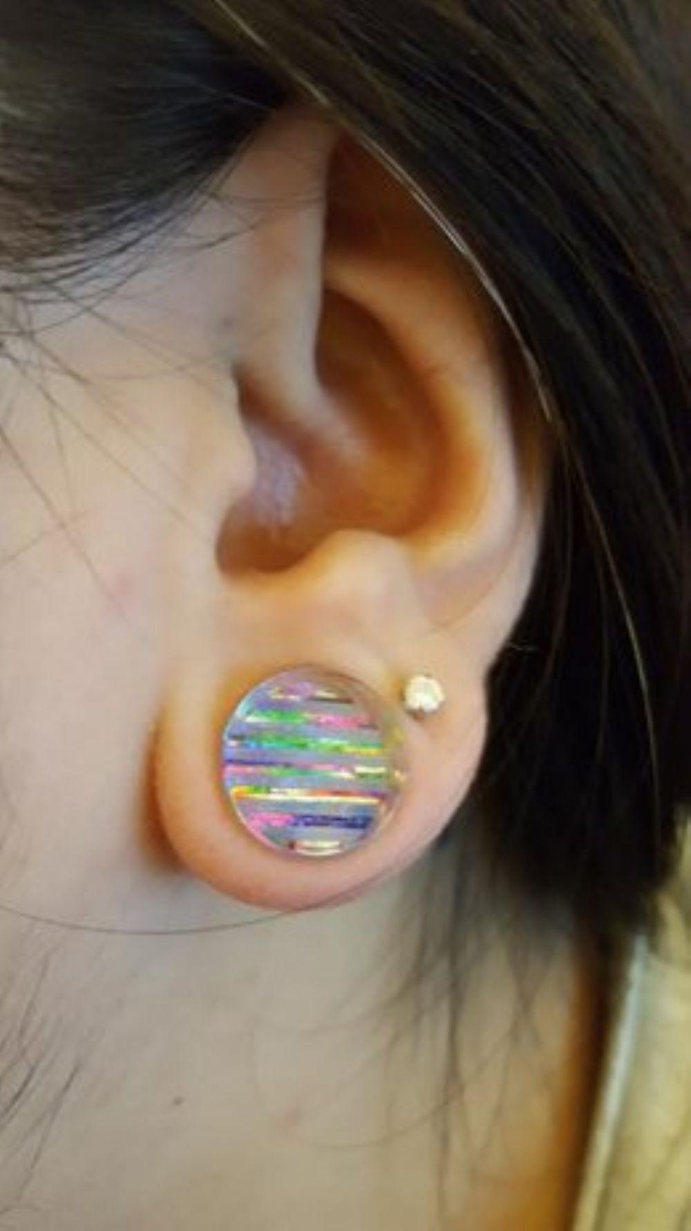 "1/2""   Double flare rainbow stripe/ hologram plug -- Photo # 78354"