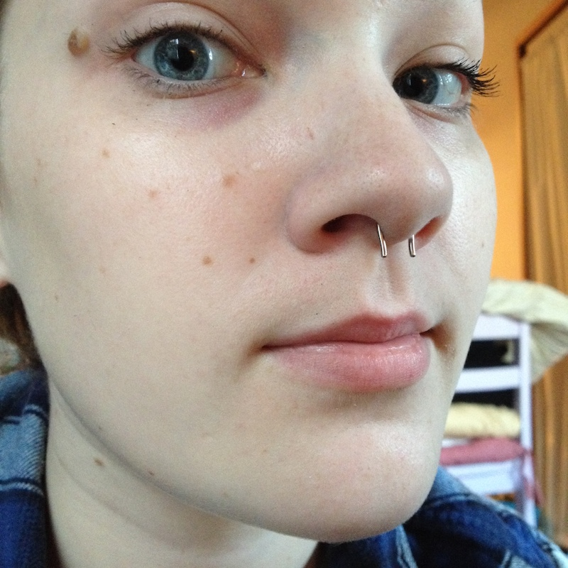 16g  Polish Titanium Septum Retainer -- Photo # 61451
