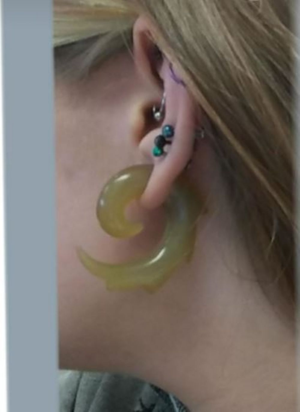 00g/9.5mm  (pair) Golden Horn Tribal Spirals -- Photo # 83491