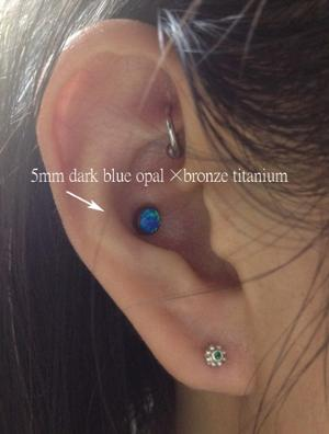 14g/12g   5mm cabochon titanium threaded end -- Photo # 77648