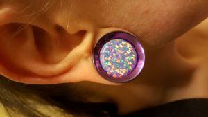 """7/8"""" PRE-ORDER Titanium Floating Gem Opal Eyelet"""