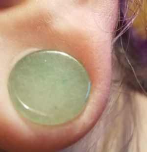 12mm   Green Aventurine Plug -- Photo # 83498