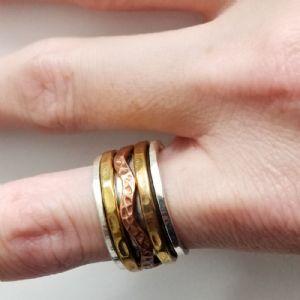 Size 7.5   Silver Hammered Band Meditation Ring -- Photo # 84617