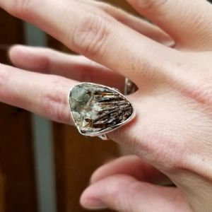 Size 7.5   Silver and Astrophyllite Ring -- Photo # 84642