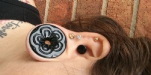 "1-3/8""  Black obsidian (pair) Stone and Glass Flower Eyelets -- Photo # 84901"