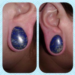 """7/8""""  (pair) Lapis Teardrop Plugs -- Photo # 85174"""