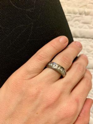 Size 5   Titanium Channel-Set CZ Ring -- Photo # 85552