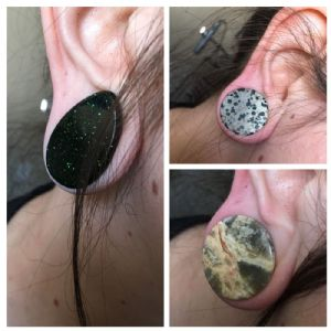 "1""  Stone (3 pair) Clearance Blemished Organic Plugs Grab Bag -- Photo # 84048"