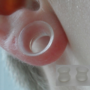 "Silicone earskin (Clear) 00g/9mm  (3/8"" wearable)"