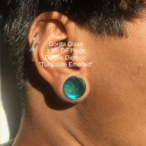 """1/2"""" Deluxe Dichroic Plugs (Turquoise Emerald)"""
