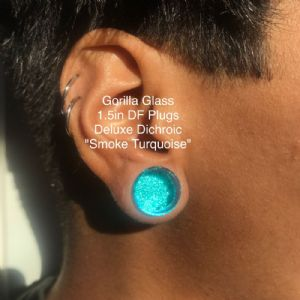 "1/2"" Fused Dichroic Plugs (Smoke Turquoise)"