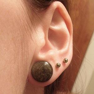"Golden obsidian stone plugs 1/2""  (pair) -- Photo # 51502"