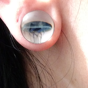 "Pyrex glass jellyfish plugs (Blue moon on white) 1/2""  (pair) -- Photo # 65686"