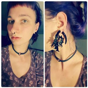 0g  Maya black horn Nabulla design (pair) Clearance Bin (Organic Hanging Designs) -- Photo # 82862