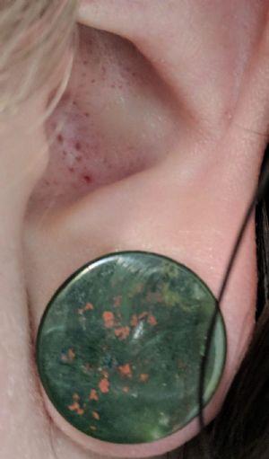 "9/16""  Bloodstone (pair) Mayan Flare Stone and Glass Plugs -- Photo # 83119"