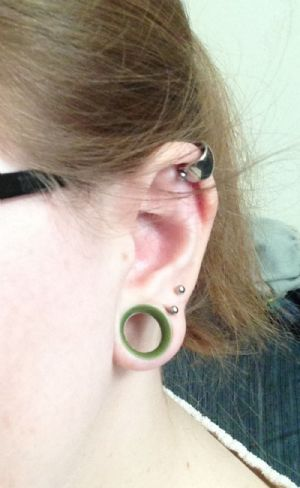 """9/16""""  Olive (1/4"""" wearable) Discontinued Silicone Earskin  -- Photo # 82148"""