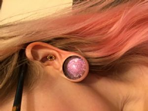 """1""""  Pink (pair) Single Flare Dichroic Foil Plugs -- Photo # 80673"""
