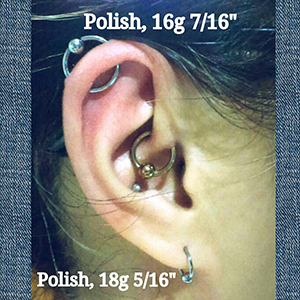 "Titanium captive bead ring 16g 7/16"" Polish -- Photo # 61538"