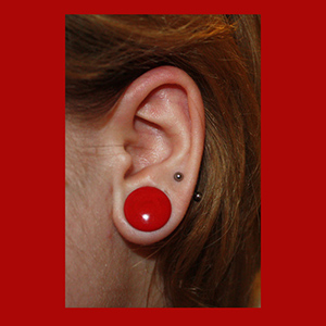 "Single flare Opaque red colored pyrex plugs 1/2""  (pair)"