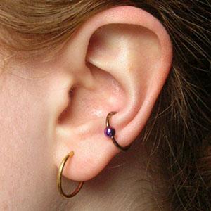 """Titanium captive bead ring 16g 7/16"""" Copper"""