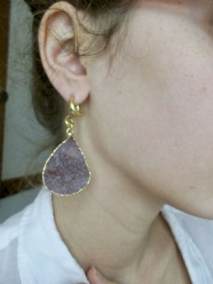 8g Solid brass and electroplated pink amethyst druzy weights