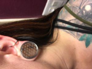 """1""""  25mm Steel Seed of Life Plug -- Photo # 83482"""