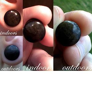 "Golden obsidian stone plugs 7/16""  (pair) -- Photo # 41315"