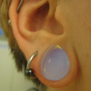 "Opalite teardrop plug 1/2"""