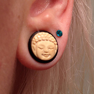 "Black horn plugs with bone Buddha face inlays 1/2""  (pair) -- Photo # 56561"