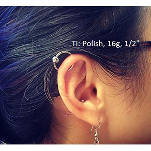 "Titanium captive bead ring 16g 1/2"" Polish -- Photo # 60788"