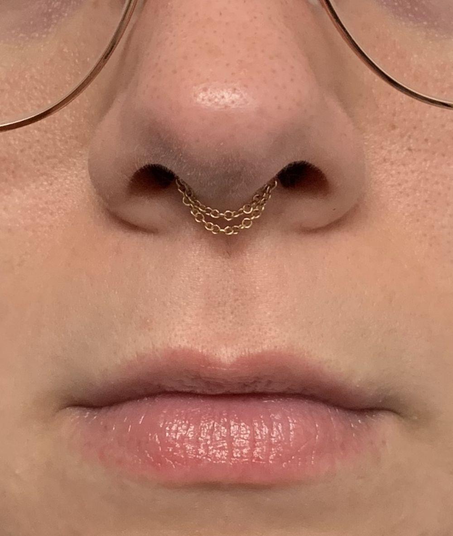 Maria Tash 14k Gold Double Chain Septum Spinner Nose Ring