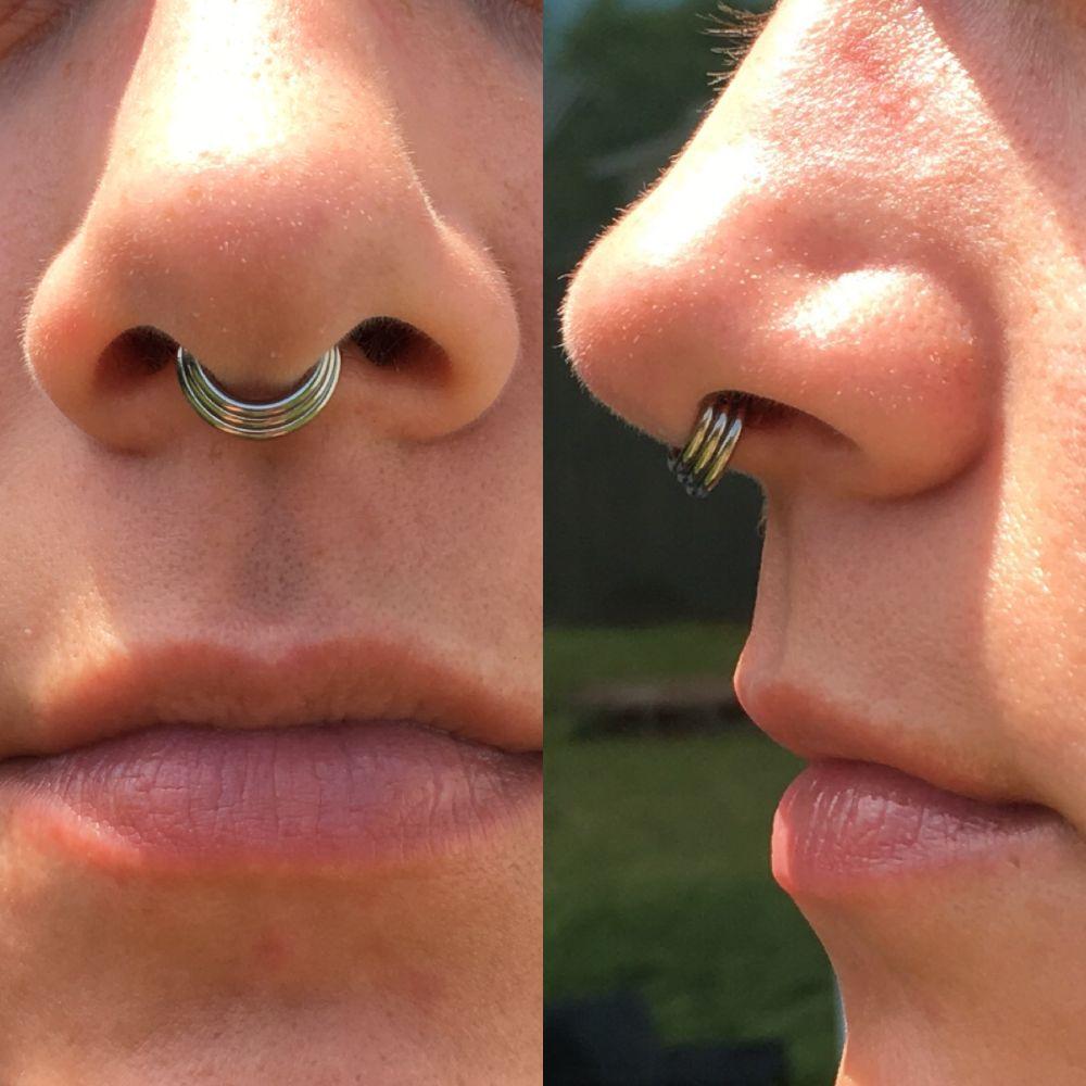 16g Titanium Triple Septum Clicker Ring