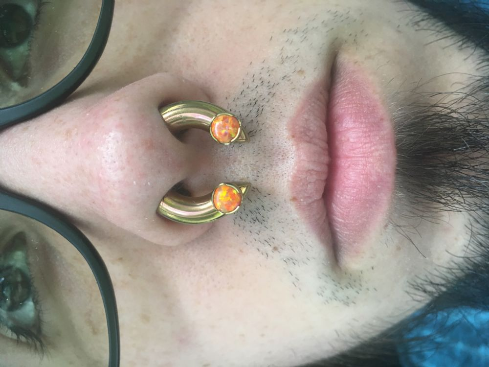 c6a70d05aa2 PRE-ORDER Titanium Septum Ring with Prong Set Threaded Ends