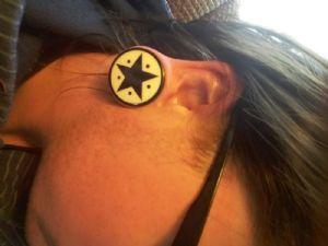 "1-5/16""  Star and dots - Black (pair) -- Photo # 82563"