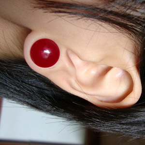 "1/2""  solid color SINGLE flare plug - red -- Photo # 13579"