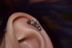 """16g 1/4"""" Black opal with clear CZ-left -- Photo # 80331"""
