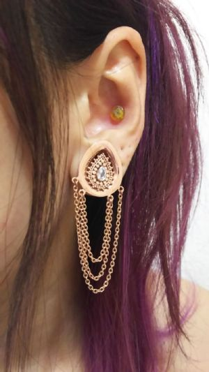 "5/8""  Rose gold plated with CZ- 16mm (pair) -- Photo # 82010"
