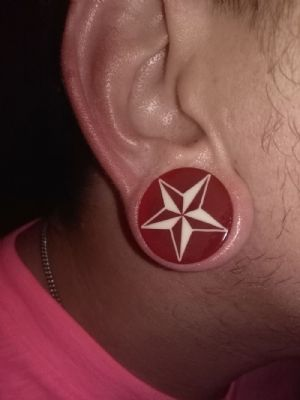 "1""  Red with white star -- Photo # 81209"