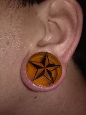 "1""  Yellow with black star -- Photo # 81264"