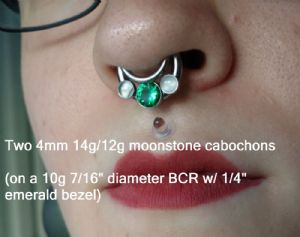 14g/12g   4mm cabochon titanium threaded end -- Photo # 80536