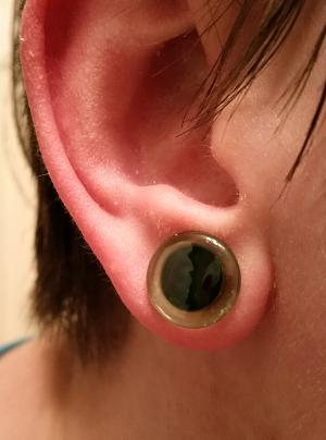 0g 12mm SF solid color emerald plugs (pair) -- Photo # 75590