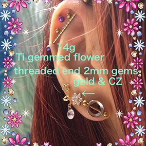 14g/12g  2mm gems (Threaded) -- Photo # 69517