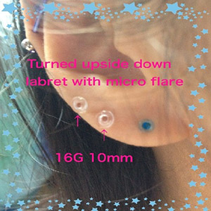 16g 10mm clear labret with micro flare -- Photo # 59859